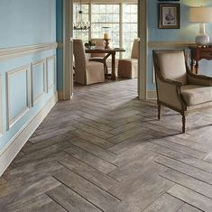 Porcelain tiles that look like wood at The Home Depot.