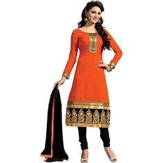 Buy Louis Vogue Orange Cotton Semi Stitched Suit by LOUIS  VOGUE, on Paytm, Price: Rs.899?utm_medium=pintrest