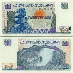 Zimbabwe 20 Dollars 1997 (Re Matapos Rocks, Victoria Falls) Victoria Falls, Zimbabwe, People Of The World, Ian Smith, Banknote, Stamp, African Animals, Rock, Charts