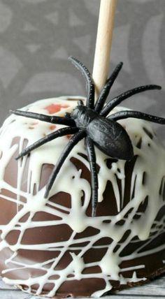 Spider Web Caramel Apple