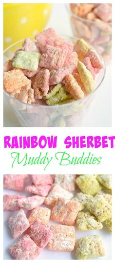 Rainbow Sherbet Muddy Buddies.  Raspberry, Orange and Lime Muddy Buddies - yummy party snack!