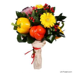 Reliable delivery of flowers in Kiev, Ukraine and all over the world. Vegetable Bouquet, Stuffed Sweet Peppers, Pretty Good, Broccoli, Floral Arrangements, Lush, Fruit, Vegetables, Holiday