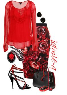 """""""Red Roses Skirt"""" by jaimie-a ❤ liked on Polyvore"""