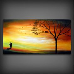 Autumn fall orange Landscape painting large acrylic tree original landscape painting bird silhouette 48 x 24 inch Mattsart