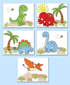 DINOSAUR NURSERY ART Prints Baby Boy T-Rex Dino Children's Room Decor Kids Bedroom Stegosaurus Triceratops Pterodactyl Long Neck Decorations #decampstudios