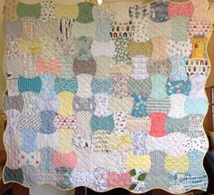 """An  Apple Core quilt modernized by using all different fabrics! Lovely and a great """"stash buster""""  The original blog: http://withoutpins.blogspot.com/2015/06/new-work.html"""