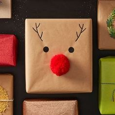 How to Make Easy Reindeer Nose Gift Wrap #easy #reindeer #nose #giftwrap #rudolph #pompom #christmas #present #gift #simple #diy #handmade #kids #craft