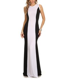 Another great find on #zulily! White & Black Color Block Silk-Blend Maxi Dress - Plus Too #zulilyfinds