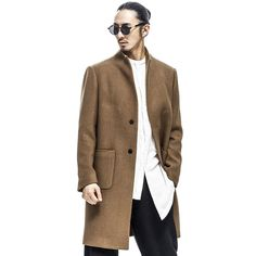 Mens Vintage Simple Single Breasted Wool Blend Overcoat