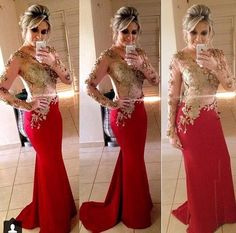 Red Prom/Evening Dresses 2014 Long Sleeves Chiffon Lace Sheer Sexy ...