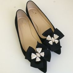 Host PickKate Spade Crystal Bow Flat Made in Italy! Crystal bow black suede flats. Worn less than 3x in excellent condition! No Trade kate spade Shoes Flats & Loafers