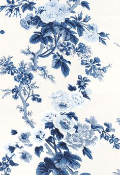 Pyne Hollyhock Indigo Wallpaper 5006922 by Schumacher Wallpaper Striped Wallpaper, Fabric Wallpaper, Wall Wallpaper, Pattern Wallpaper, Wallpaper Backgrounds, Blue Floral Wallpaper, Vintage Flowers Wallpaper, Flower Wallpaper, Hydrangea Wallpaper