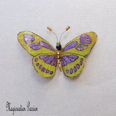 recycled plastic butterfly green and purple magnet Pluto 1 magnet - romantic wall decor, curtains, lamp, lamp shade - made in France Surface Table, Wrought Iron Decor, Purple Butterfly, Green And Purple, Decoration, Magnets, Recycling, Wall Decor, Brooch