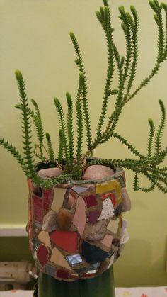Flowerpot decorated with mosaic technique Mosaic Bottles, Flower Pots, Flowers, Planter Pots, Mosaics, Vases, Workshop, Mosaic Art, Balconies
