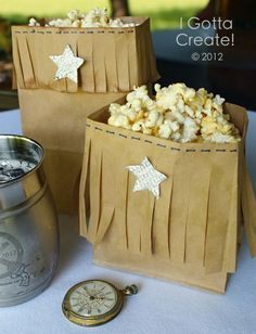 Easy and fun for parties or movie nights. Faux leather fringe popcorn bags by I Gotta Create! Indian Birthday Parties, Horse Birthday Parties, Cowboy Birthday Party, Indian Party, 5th Birthday, Birthday Ideas, Cowboy Theme Party, Horse Party, Pocahontas Birthday Party