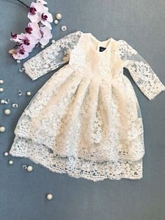 Baby Christening Dress, Girls Baptism Dress, Baptism Gown, Gowns For Girls, Little Girl Dresses, Baby Blessing Dress, Party Wear Frocks, Smocked Baby Clothes, Flower Girl Gown