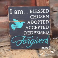 Christian Distressed Wood Sign, Wall Hanging, Black, Hand Painted, Blessed Forgiven, Religious Wall Decor by HarrisSignStation