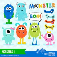 MONSTERS 1 Digital Clipart  Monsters Clipart Cute by grafos, $5.00