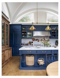 Home Interior, Kitchen Interior, New Kitchen, Kitchen Decor, Interior Design, Blue Kitchen Ideas, Blue Kitchen Designs, Art Deco Kitchen, Kitchen Small