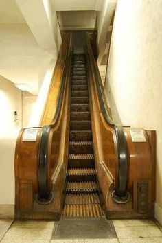 Old-school wooden escalator...Eaton's in S'toon