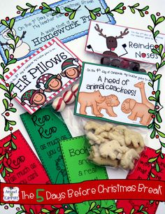 T'was The 5 Days Before Christmas Break simple, daily student gifts with matching activity booklet so that students use the treats to complete the tasks!