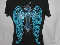 Turquoise Cross with Turquoise Wings T Shirt by aSweeTeeStop, $21.99 Motorcycle Wear, Comfy Casual, Crowns, Dress To Impress, That Look, Wings, Valentines, Turquoise, Trending Outfits
