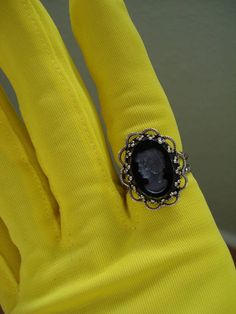 1960s Intaglio Cameo Adjustible Onyx Ring by bycinbyhand on Etsy, $26.00
