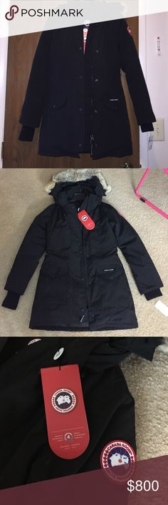 BRAND NEW Authentic Canada Goose coat Black coat with real fur hood never worn! Just doesn't fit me! Tags are still attached! The size is an xs but would fit a small! All offers are encouraged! FREE SHIPPING Selling cheaper on Merc :) Canada Goose Jackets & Coats