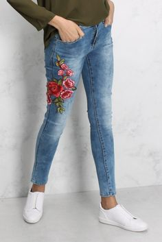 Blue Multi Floral Embroidered Skinny Jeans - $38