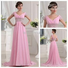 Wholesale Diaphanous V-neck Applique and Beaded Pink Chiffon A-line Beautiful Long Prom Dresses 2013, Free shipping, $106.82-129.98/Piece | DHgate