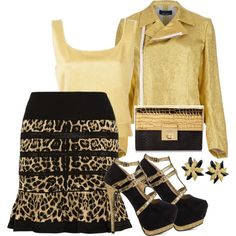 Golden Leopard Style by gabriele-bernhard on Polyvore featuring Comme des Garçons, Moschino, Roberto Cavalli, Luichiny, Milly and LeopardPrint