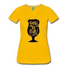 design tee-shirt la bière c'est la vie! Le tee-shirt à porter pour les fêtes et apéros... T Shirt, Tops, Design, Women, Fashion, Woman, Supreme T Shirt, Moda, Tee Shirt