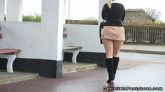 seamed pantyhose, ass revealing and boots in public - Daniella In Pantyhose Videos