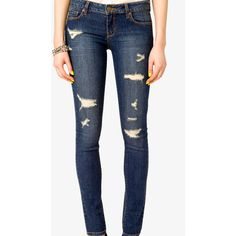 FOREVER 21 Distressed Denim Skinnies ($28) ❤ liked on Polyvore
