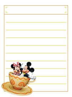 Journal Card - Top Box - Minnie and Mickey - Teacups - lines - photo by pixiesprite Walt Disney World Vacations, Disney Trips, Disney Cruise, Disney Scrapbook Pages, Scrapbook Cards, Logo Clipart, Autograph Book Disney, Disney Printables, Project Life Cards