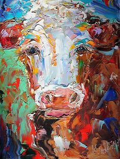 Original Oil Painting Palette Knife Cow Impressionism Fine Art ...