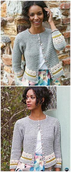 Crochet Crew Neck Stripe Cardigan Free Pattern - Crochet Women Sweater Coat-Cardigan Free Patterns