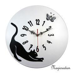 commande horloge chat étiré et papillon 3D - Boutique www.magicreation.fr Clock, 3d, Boutique, Home Decor, Clocks, Cat Clock, Wall Clocks, Pendulum Clock, Butterflies