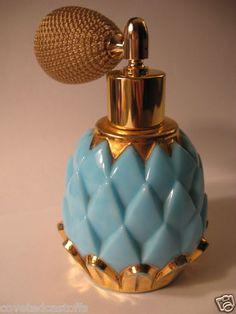 DEVILBISS Turquoise & Gold ARTICHOKE MILK GLASS PERFUME BOTTLE+BRASS ATOMIZER