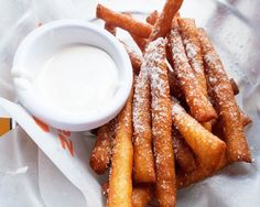 Funnel Cake Fries Recipe on Yummly. desert fries the best😚☺😎🤗😍😍😎☺🤗🤗🤗😇😣😣😣😚🙂🙂🤗🤗🙂🤗🤗🙂🤗🤗😅😘 Churros, Funnel Cake Fries, Funnel Cakes, Carnival Food, Good Food, Yummy Food, Delicious Recipes, Amazing Recipes, Tasty