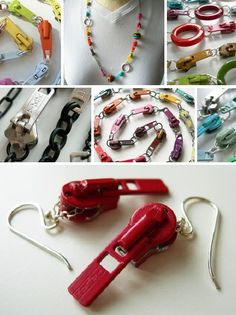 zipper jewelry. Use this photos. Love all the color.