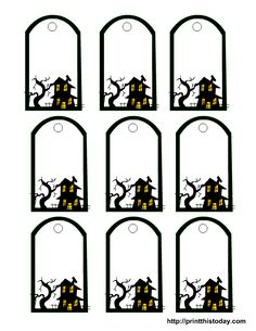 Haunted House Template   Halloween Printable Tags Templates   Print This Today