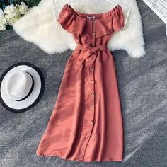 Women Slash Neck Vintage Midi Dress Short Single Breasted Sashes High Waist Party Dress Preppy Elegant A-Line Dress Preppy Dresses, Casual Summer Dresses, Casual Dresses For Women, Sexy Dresses, Cute Dresses, Fashion Dresses, Short Sleeve Dresses, Clothes For Women, Fashion Top