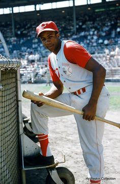 """Frank Robinson (1956-1965) In Milwaukee, August 1956. Hit 36 home runs as Rookie of the Year in 1956, NL MVP in 1962. In the World Series in 1961. Traded by Bill Dewitt for Milt Papas in 1966 to Baltimore as he was an """"old 30"""" where he promptly won the triple crown."""