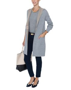 Reversible Double-Face Coat in Grey and Oatmeal | D.Exterior | Halsbrook