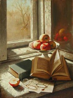 Dmitri Annenkov...still life of books, fruit and glasses on a table before a window...