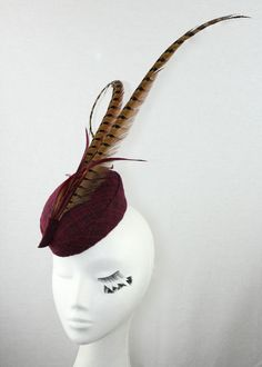 BURGUNDY FABRIC FASCINATOR WITH CAMEL PHEASANT FEATHERS AND BIOT FEATHER ACCENTS @ www.marilynvandenberg.com