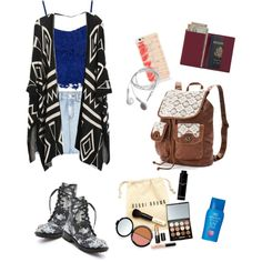 Travel Look by christinacicilia on Polyvore featuring polyvore fashion style SJYP Ash Mudd Royce Leather Kate Spade Bobbi Brown Cosmetics Shiseido