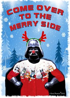 "Darth loves a cat sweater. Star Wars Christmas Cards - ""Dart Vader Christmas"" - Pack of (4) Cards - Blank inside, 5"" x 7"", Star Wars Fans, Order Now beat the Rush. $8.00, via Etsy."