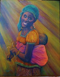 African mother and child painting: a vibrant African portrait painting in the golden rays of the African sun by GramsArt.